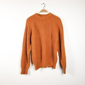 VTG Grandpa Chunky Knit Fall Orange Sweater